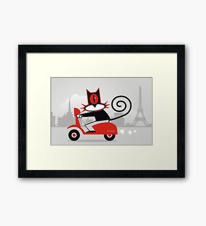 Hellcat loves his Vespa Framed Print