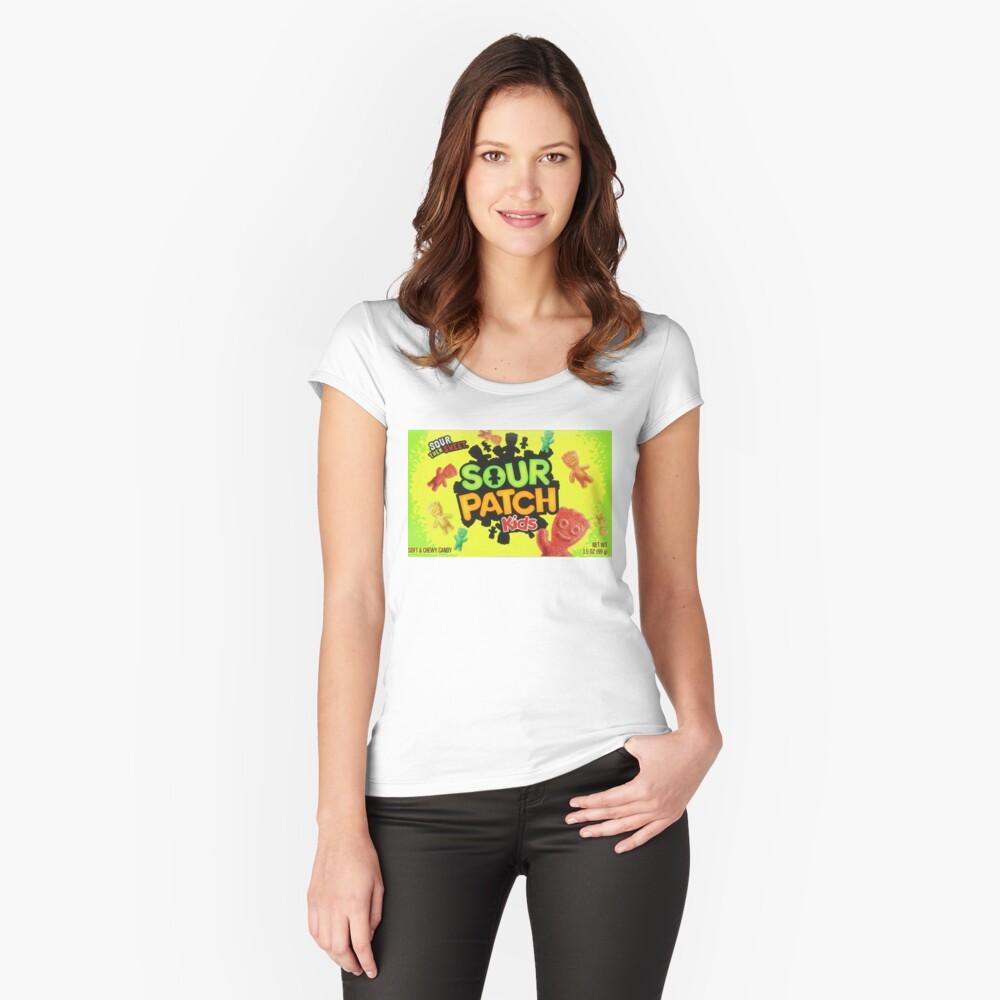 Sour Patch Kids Süßigkeiten Paket vorne Tailliertes Rundhals-Shirt