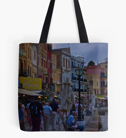 View of the Venetian port of Chania. Greece. by Doctor Faustus. Tote Bag