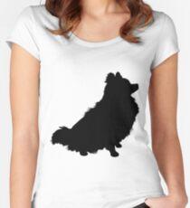 Pomeranian Silhouette Women's Fitted Scoop T-Shirt