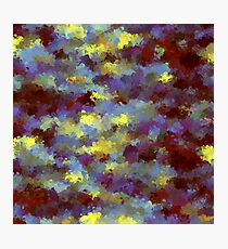 abstract blue and yellow brush painting Photographic Print