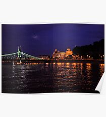 Liberty Bridge. The Danube River in Budapest at night. Number 1 Poster