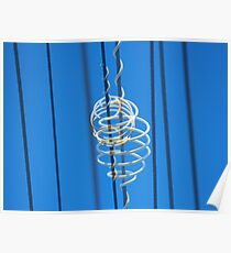 White Plastic Scrolls on Telephone Lines Poster