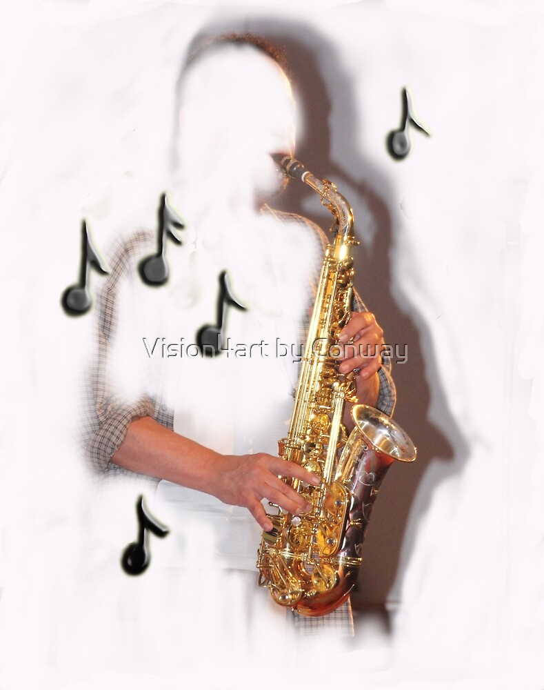 Abstract saxophone player, music , instruments by Vision4art by Conway