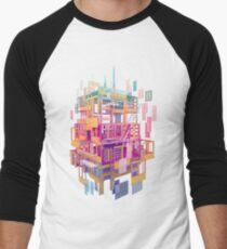 Camiseta ¾ bicolor para hombre Nubes de construcción