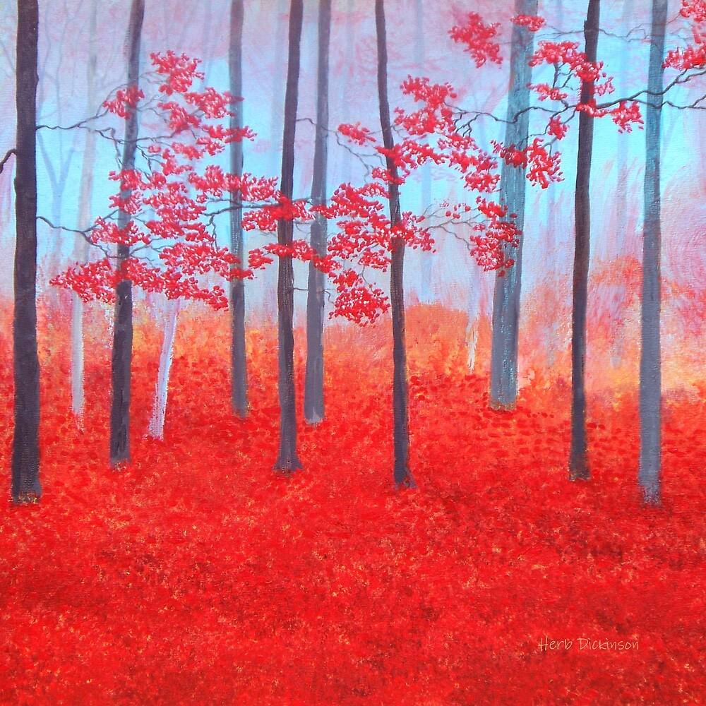 Red Forest Morning by Herb Dickinson