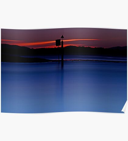 Red and Blue, Sunset at Smiths Lake Poster