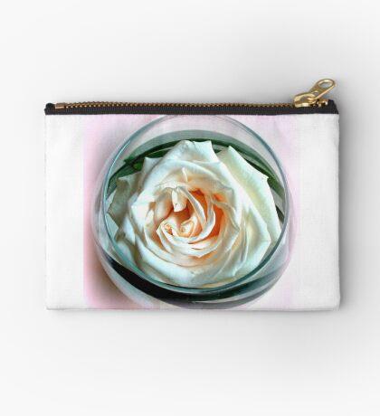 White Rose in Glass Studio Pouch