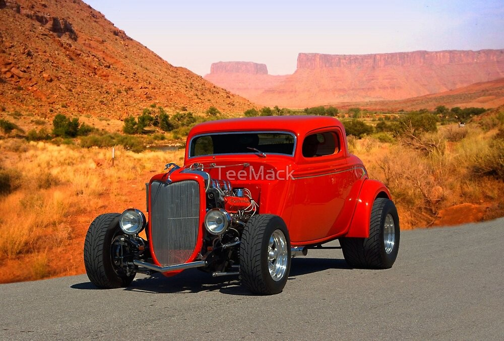 1934 Ford 3 Window Coupe Hot Rod by TeeMack