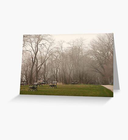 Lake Park Foggy Landscape Greeting Card