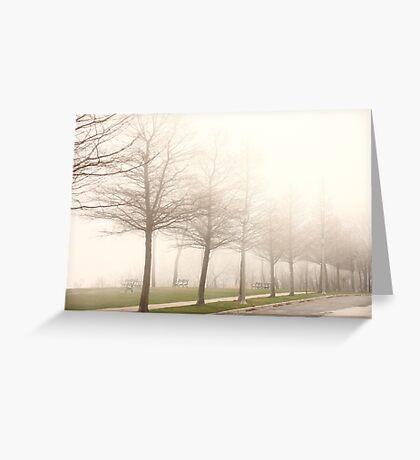 Foggy Sidewalk Scene Greeting Card