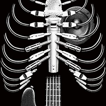 Guitar Skeleton Microphone Rock Music Lovers by ajeung