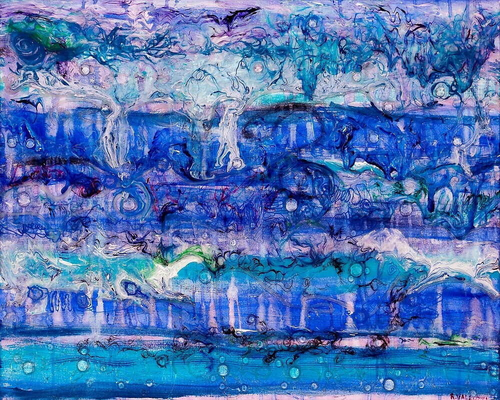 Ebb and Flow - Acrylic and Lenses on canvas by Regina Valluzzi