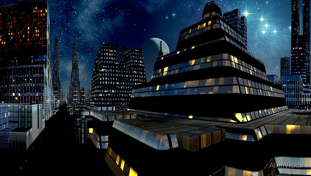 Reflections of Night - Metropolis Moon by AlienVisitor
