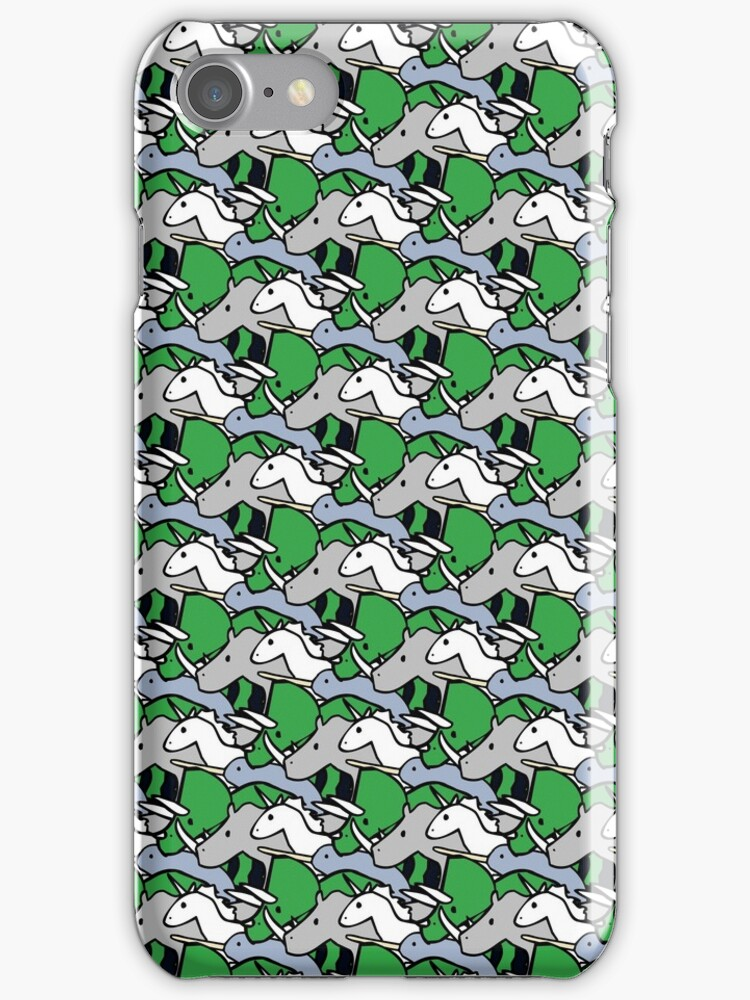 Horned Warrior Friends pattern (unicorn, narwhal, triceratops, rhino) by jezkemp
