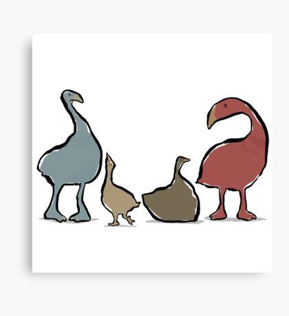 four moa birds Canvas Print