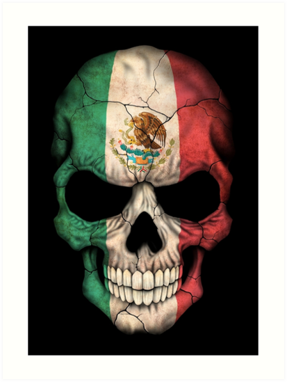 Quot Mexican Flag Skull Quot Art Print By Jeffbartels Redbubble