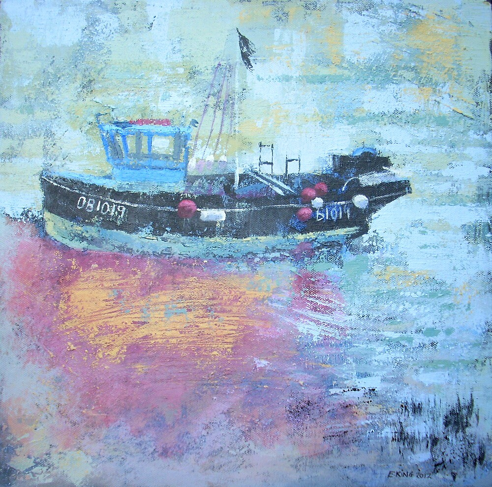 Fishing boat at low tide, Rye Harbour, Acrylics by Emily King