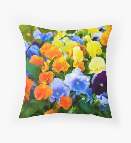 Painted Pansies Throw Pillow