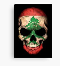 Lebanese Flag Skull Canvas Print