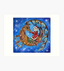 Reindeer & Girl Art Print