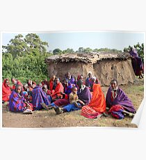 Maasai Women and Children with House Poster