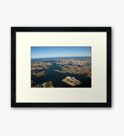 SYDNEY HARBOUR AND CITY SKYLINE - AUSTRALIA Framed Print