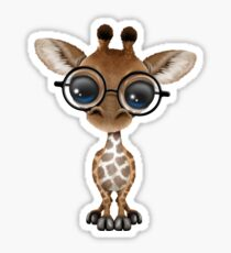Cute Curious Baby Giraffe Wearing Glasses on Green Sticker