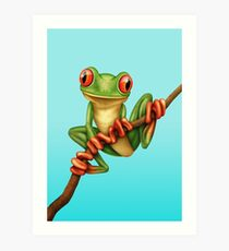 Cute Green Tree Frog on a Branch Art Print
