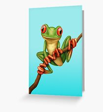 Cute Green Tree Frog on a Branch Greeting Card