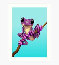 Cute Purple Tree Frog on a Branch Kunstdruck