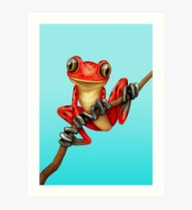 Cute Red Tree Frog on a Branch Kunstdruck
