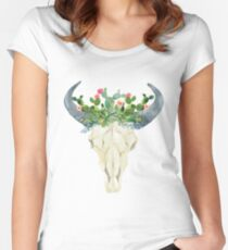 Bull skull with cacti crown - hand painted watercolor Women's Fitted Scoop T-Shirt