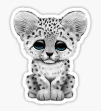 Cute Baby Snow Leopard Cub on Pink Sticker