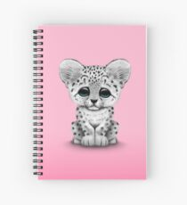 Cute Baby Snow Leopard Cub on Pink Spiral Notebook