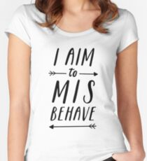 Aim To Misbehave | White Women's Fitted Scoop T-Shirt