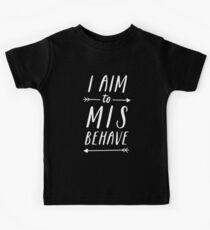 Camiseta para niños Objetivo de portarse mal | Negro