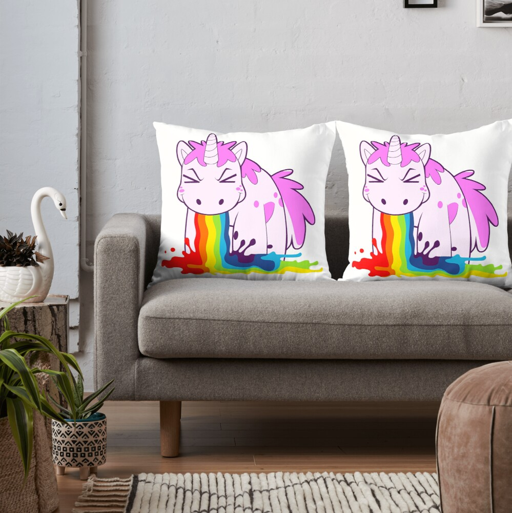 Unicorn 'I Puke Rainbows!' Throw Pillow