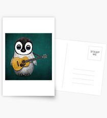Musical Baby Penguin Playing Guitar Teal Blue Postcards
