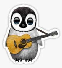 Musical Baby Penguin Playing Guitar Teal Blue Sticker