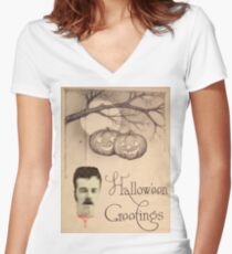 Just Hanging Around (Vintage Halloween Card) Women's Fitted V-Neck T-Shirt