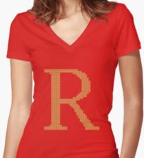 Weasley Sweater Letter R Women's Fitted V-Neck T-Shirt