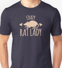 Crazy Rat Lady (in cream colour) Unisex T-Shirt