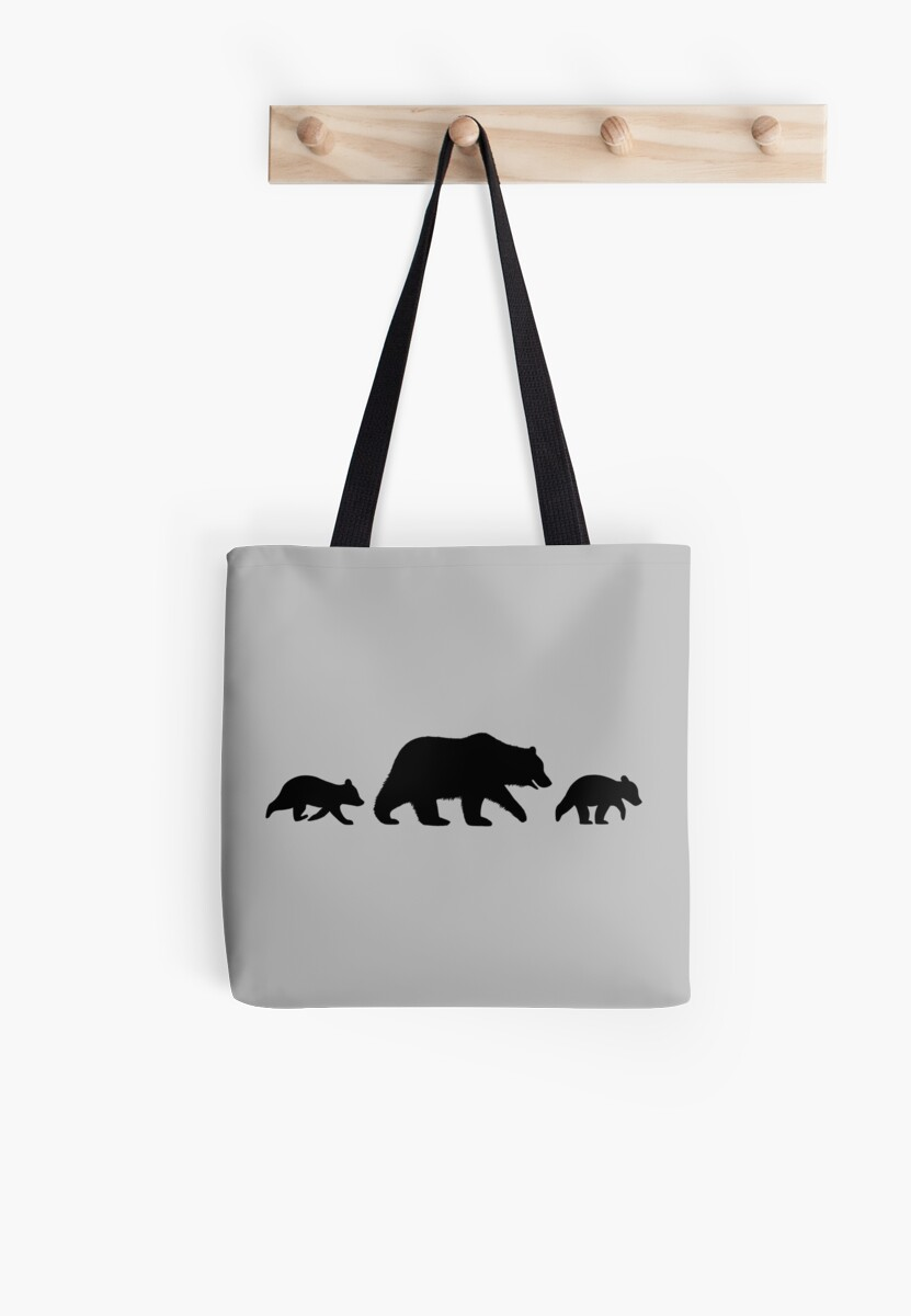 grizzly bear family silhouettes tote bags by jenn inashvili redbubble