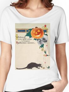 Black Cat (Vintage Halloween Card) Women's Relaxed Fit T-Shirt