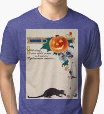Black Cat (Vintage Halloween Card) Tri-blend T-Shirt