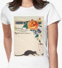 Black Cat (Vintage Halloween Card) Women's Fitted T-Shirt