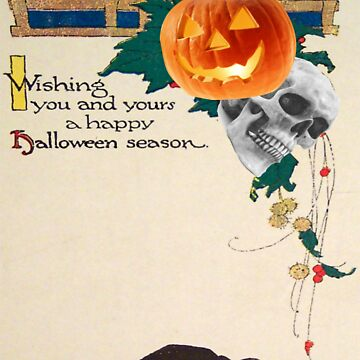 Black Cat (Vintage Halloween Card) by jibbsmerch