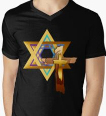 Star Of David and Triple Cross Mens V-Neck T-Shirt