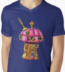 Red Steampunk Mushroom Mens V-Neck T-Shirt